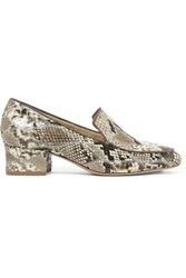 Alexandre Birman Python Loafers Taupe