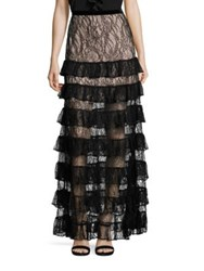 Alexis Vicky Long Tiered Lace Skirt Black