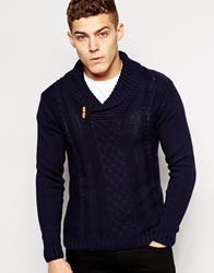 Solid Solid Shawl Cable Knit Jumper With Button Collar Navy