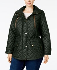 Michael Kors Plus Size Faux Leather Trim Hooded Jacket Dark Olive