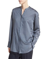 Vince Striped Half Placket Silk Tunic Multi
