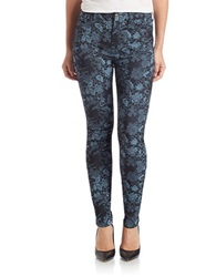 7 For All Mankind High Waisted Floral Skinny Jeans Denim Blue Floral
