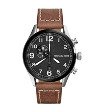 Michael Kors Hangar Leather Strap Silver Tone Watch Two Tone
