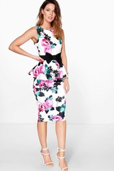 Boohoo Floral Peplum Midi Dress Multi