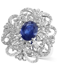 Effy Collection Effy Sapphire 1 9 10 Ct. T.W. And Diamond 3 5 Ct. T.W. Ring In 14K White Gold
