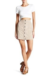 14Th And Union Faux Suede Button Mini Skirt Gray