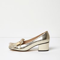 River Island Womens Gold Tassel Heeled Loafers
