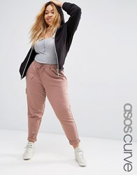 Asos Curve Jogger With Elastic Waist Band And Turn Up Pink