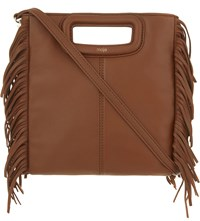 Maje The M Leather Cross Body Bag Camel