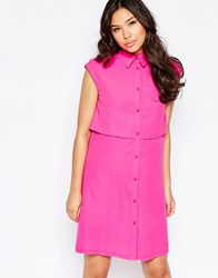 Twin Sister Two Tiered Shirt Dress Fluro Pink