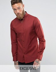 Noose And Monkey Skinny Shirt With Collar Bar Rust Brown