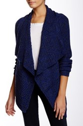 Chaus Long Sleeve Cable Knit Marled Cardigan Blue