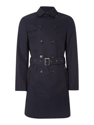 Ben Sherman Double Breasted Twill Trench Coat Navy