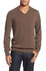 Nordstrom Men's Big And Tall Men's Shop Cashmere V Neck Sweater Brown Fawn