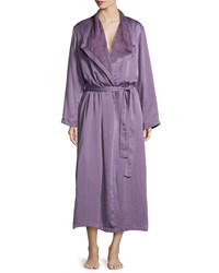Donna Karan Laundered Satin And Faux Fur Robe Lilge Women's