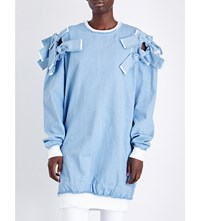 Fyodor Golan Bow Detailed Denim Sweatshirt Light Blue Denim