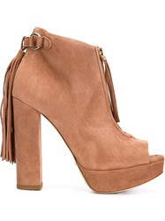 Jerome Rousseau Open Toe Chunky Heel Boots Pink And Purple