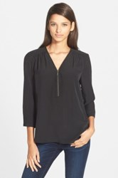 Trouve Zip Neck High Low Gathered Top Black