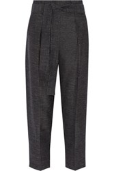 3.1 Phillip Lim Wool And Linen Blend Tapered Pants Midnight Blue