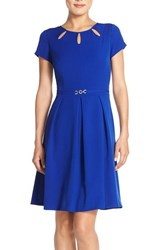 Women's Ellen Tracy Cutout Neck Fit And Flare Dress Cobalt
