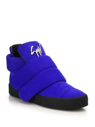 Giuseppe Zanotti Puff Double Grip Tape Suede Sneakers Royal Blue
