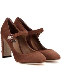 Dolce And Gabbana Embellished Suede Pumps Brown