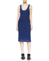 Proenza Schouler Sleeveless Open Crochet Tank Dress Cobalt Black