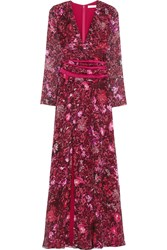 Matthew Williamson Printed Silk Chiffon Gown Red