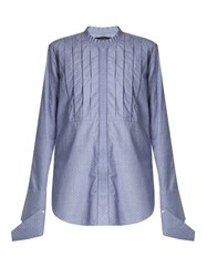 Ellery Tightly Bound Bib Front Cotton Shirt Blue