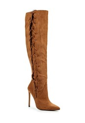 Lost Ink Gita Laced Side Over Knee Boots Tan