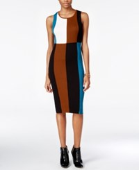 Bar Iii Ribbed Colorblocked Sheath Dress Only At Macy's Rainforest Cmb