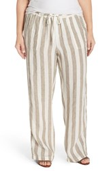 Plus Size Women's Caslon Drawstring Linen Pants Tan Ivory Stripe