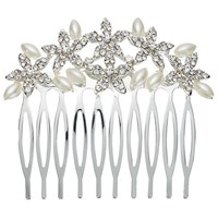 John Lewis Faux Pearl And Cubic Zirconia Small Comb Silver