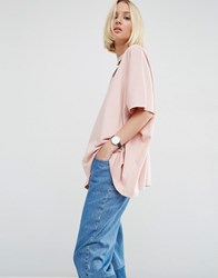 Asos White Oversized T Shirt With V Cut Out Detail Pink