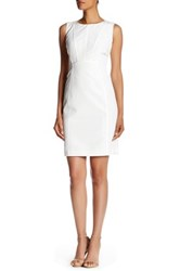 Lafayette 148 New York Gigi Faux Leather Trimmed Dress White