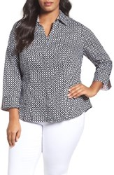 Foxcroft Plus Size Women's Tile Print Shirt