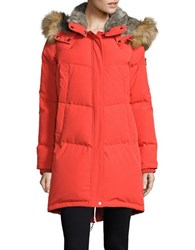 Vince Camuto Straight Fit Faux Fur Hooded Fill Jacket Vermilion
