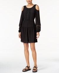 Bar Iii Embroidered Cold Shoulder Dress Only At Macy's Deep Black