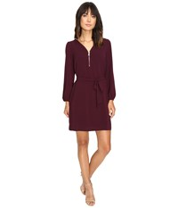 Christin Michaels Jd Zip Front Shift Dress Wine Gold Women's Dress Red