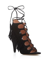 Sigerson Morrison Marita Fringe Lace Up High Heel Sandals Black