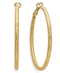 Inc International Concepts Silver Tone Small Textured Hoop Earrings Gold