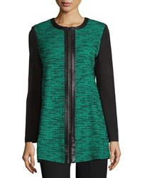 Misook Leather Trim Long Knit Jacket Black Jade