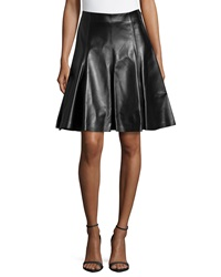 Versace Flare Leather Skirt Black