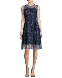 Carmen Marc Valvo Sleeveless Lace Fit And Flare Cocktail Dress Size 16 Black Midnight