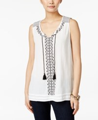 Styleandco. Style And Co. Sleeveless Embroidered Top Only At Macy's White