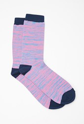 Forever 21 Space Dyed Crew Socks Pink Navy