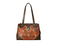 American West Desert Wildflower Large 3 Compartment Shopper Golden Tan Distressed Charcoal Cream Handbags Brown