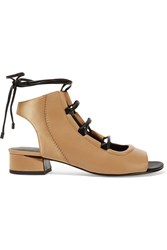 3.1 Phillip Lim Drum Satin Paneled Leather Sandals Tan