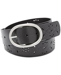 Fossil Floral Perforated Belt Black