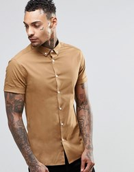 Asos Skinny Shirt In Camel With Button Down Collar And Short Sleeves Camel Tan